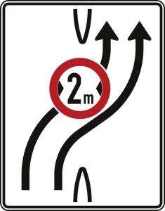 Verkehrszeichen 505-21 StVO, Überleitungstafel ohne Gegenverkehr, zweistreifig nach rechts (Folie/Entfernungsangabe/Maße(HxB): RA1/Flachform 2mm<br> <b>ohne Entfernungsangabe</b><br>1600x1250mm (Art.Nr.: 505-21-111))