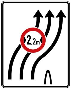 Verkehrszeichen 505-22 StVO, Überleitungstafel ohne Gegenverkehr, dreistreifig nach rechts (Folie/Entfernungsangabe/Maße(HxB): RA1/Flachform 2mm<br> <b>ohne Entfernungsangabe</b><br>1600x1250mm (Art.Nr.: 505-22-111))