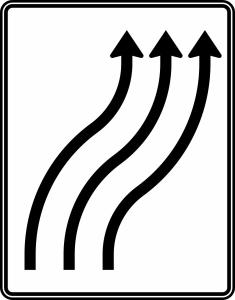 Verkehrszeichen 511-22 StVO, Verschwenkungstafel (Folie/Entfernungsangabe/Maße(HxB): RA1/Flachform 2mm<br> <b>ohne Entfernungsangabe</b><br>1600x1250mm (Art.Nr.: 511-22-111))