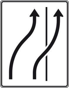 Verkehrszeichen 511-26 StVO, Verschwenkungstafel (Folie/Entfernungsangabe/Maße(HxB): RA1/Flachform 2mm<br> <b>ohne Entfernungsangabe</b><br>1600x1250mm (Art.Nr.: 511-26-111))