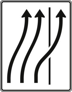 Verkehrszeichen 511-27 StVO, Verschwenkungstafel (Folie/Entfernungsangabe/Maße(HxB): RA1/Flachform 2mm<br> <b>ohne Entfernungsangabe</b><br>1600x1250mm (Art.Nr.: 511-27-111))