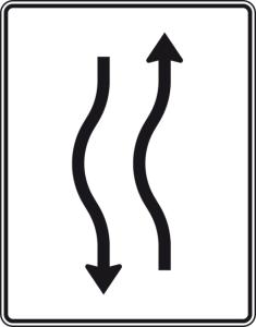 Verkehrszeichen 514-10 StVO, Verschwenkungstafel (Folie/Entfernungsangabe/Maße(HxB): RA1/Flachform 2mm<br> <b>ohne Entfernungsangabe</b><br>1600x1250mm (Art.Nr.: 514-10-111))