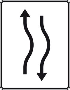 Verkehrszeichen 514-20 StVO, Verschwenkungstafel (Folie/Entfernungsangabe/Maße(HxB): RA1/Flachform 2mm<br> <b>ohne Entfernungsangabe</b><br>1600x1250mm (Art.Nr.: 514-20-111))