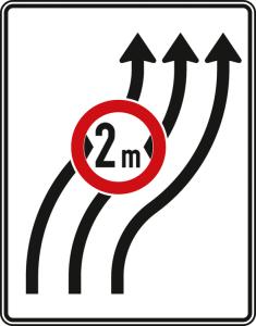Verkehrszeichen 515-22 StVO, Verschwenkungstafel ohne Gegenverkehr (Folie/Entfernungsangabe/Maße(HxB): RA1/Flachform 2mm<br> <b>ohne Entfernungsangabe</b><br>1600x1250mm (Art.Nr.: 515-22-111))