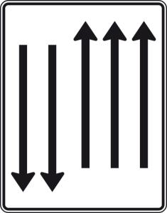 Verkehrszeichen 522-34 StVO, Fahrstreifentafel mit Gegenverkehr (Folie/Entfernungsangabe/Maße(HxB): RA1/Flachform 2mm<br> <b>ohne Entfernungsangabe</b><br>1600x1250mm (Art.Nr.: 522-34-111))