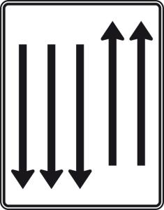 Verkehrszeichen 522-35 StVO, Fahrstreifentafel mit Gegenverkehr (Folie/Entfernungsangabe/Maße(HxB): RA1/Flachform 2mm<br> <b>ohne Entfernungsangabe</b><br>1600x1250mm (Art.Nr.: 522-35-111))