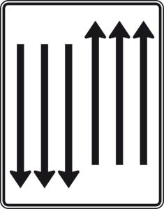Verkehrszeichen 522-36 StVO, Fahrstreifentafel mit Gegenverkehr (Folie/Entfernungsangabe/Maße(HxB): RA1/Flachform 2mm<br> <b>ohne Entfernungsangabe</b><br>1600x1250mm (Art.Nr.: 522-36-111))