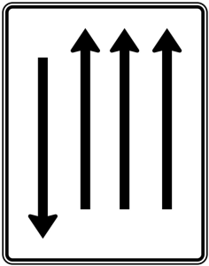 Verkehrszeichen 522-37 StVO, Fahrstreifentafel mit Gegenverkehr (Folie/Entfernungsangabe/Maße(HxB): RA1/Flachform 2mm<br> <b>ohne Entfernungsangabe</b><br>1600x1250mm (Art.Nr.: 522-37-111))