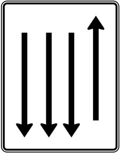 Verkehrszeichen 522-38 StVO, Fahrstreifentafel mit Gegenverkehr (Folie/Entfernungsangabe/Maße(HxB): RA1/Flachform 2mm<br> <b>ohne Entfernungsangabe</b><br>1600x1250mm (Art.Nr.: 522-38-111))