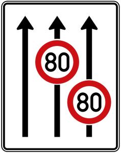 Verkehrszeichen 523-31 StVO, Fahrstreifentafel mit Höchstgeschwindigkeit (Folie/Entfernungsangabe/Maße(HxB): RA1/Flachform 2mm<br> <b>ohne Entfernungsangabe</b><br>1600x1250mm (Art.Nr.: 523-31-111))