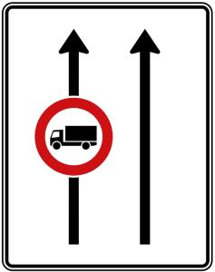 Verkehrszeichen 524-30 StVO, Fahrstreifentafel (Folie/Entfernungsangabe/Maße(HxB): RA1/Flachform 2mm<br> <b>ohne Entfernungsangabe</b><br>1600x1250mm (Art.Nr.: 524-30-111))