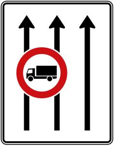 Verkehrszeichen 524-31 StVO, Fahrstreifentafel (Folie/Entfernungsangabe/Maße(HxB): RA1/Flachform 2mm<br> <b>ohne Entfernungsangabe</b><br>1600x1250mm (Art.Nr.: 524-31-111))