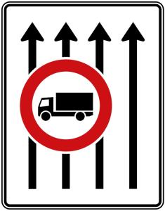 Verkehrszeichen 524-32 StVO, Fahrstreifentafel (Folie/Entfernungsangabe/Maße(HxB): RA1/Flachform 2mm<br> <b>ohne Entfernungsangabe</b><br>1600x1250mm (Art.Nr.: 524-32-111))