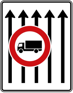 Verkehrszeichen 524-33 StVO, Fahrstreifentafel (Folie/Entfernungsangabe/Maße(HxB): RA1/Flachform 2mm<br> <b>ohne Entfernungsangabe</b><br>1600x1250mm (Art.Nr.: 524-33-111))