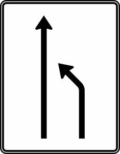 Verkehrszeichen 531-10 StVO, Einengungstafel ohne Gegenverkehr (Folie/Entfernungsangabe/Maße(HxB): RA1/Flachform 2mm<br> <b>ohne Entfernungsangabe</b><br>1600x1250mm (Art.Nr.: 531-10-111))