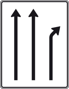 Verkehrszeichen 533-20 StVO, Trennungstafel (Folie/Entfernungsangabe/Maße(HxB): RA1/Flachform 2mm<br> <b>ohne Entfernungsangabe</b><br>1600x1250mm (Art.Nr.: 533-20-111))