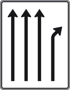 Verkehrszeichen 533-21 StVO, Trennungstafel (Folie/Entfernungsangabe/Maße(HxB): RA1/Flachform 2mm<br> <b>ohne Entfernungsangabe</b><br>1600x1250mm (Art.Nr.: 533-21-111))