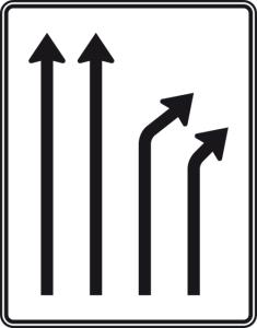 Verkehrszeichen 533-22 StVO, Trennungstafel (Folie/Entfernungsangabe/Maße(HxB): RA1/Flachform 2mm<br> <b>ohne Entfernungsangabe</b><br>1600x1250mm (Art.Nr.: 533-22-111))