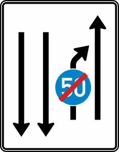 Verkehrszeichen 536-21 StVO, Einengungstafel mit Gegenverkehr (Folie/Entfernungsangabe/Maße(HxB): RA1/Flachform 2mm<br> <b>ohne Entfernungsangabe</b><br>1600x1250mm (Art.Nr.: 536-21-111))