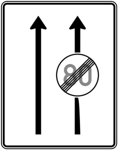 Verkehrszeichen 537-30 StVO, Fahrstreifentafel, Ende Höchstgeschwindigkeit (Folie/Entfernungsangabe/Maße(HxB): RA1/Flachform 2mm<br> <b>ohne Entfernungsangabe</b><br>1600x1250mm (Art.Nr.: 537-30-111))