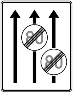 Verkehrszeichen 537-31 StVO, Fahrstreifentafel, Ende Höchstgeschwindigkeit (Folie/Entfernungsangabe/Maße(HxB): RA1/Flachform 2mm<br> <b>ohne Entfernungsangabe</b><br>1600x1250mm (Art.Nr.: 537-31-111))