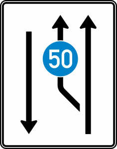 Verkehrszeichen 546-10 StVO, Aufweitungstafel mit Gegenverkehr (Folie/Entfernungsangabe/Maße(HxB): RA1/Flachform 2mm<br> <b>ohne Entfernungsangabe</b><br>1600x1250mm (Art.Nr.: 546-10-111))