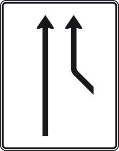 Verkehrszeichen 550-20 StVO, Zusammenführungstafel an durchgehender Strecke (Folie/Entfernungsangabe/Maße(HxB): RA1/Flachform 2mm<br> <b>ohne Entfernungsangabe</b><br>1600x1250mm (Art.Nr.: 550-20-111))