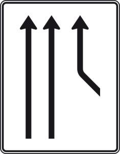 Verkehrszeichen 550-21 StVO, Zusammenführungstafel an durchgehender Strecke (Folie/Entfernungsangabe/Maße(HxB): RA1/Flachform 2mm<br> <b>ohne Entfernungsangabe</b><br>1600x1250mm (Art.Nr.: 550-21-111))
