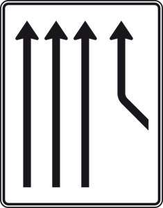 Verkehrszeichen 550-22 StVO, Zusammenführungstafel an durchgehender Strecke (Folie/Entfernungsangabe/Maße(HxB): RA1/Flachform 2mm<br> <b>ohne Entfernungsangabe</b><br>1600x1250mm (Art.Nr.: 550-22-111))