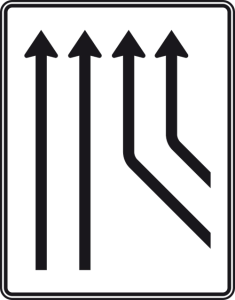 Verkehrszeichen 550-23 StVO, Zusammenführungstafel an durchgehender Strecke (Folie/Entfernungsangabe/Maße(HxB): RA1/Flachform 2mm<br> <b>ohne Entfernungsangabe</b><br>1600x1250mm (Art.Nr.: 550-23-111))