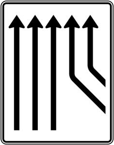Verkehrszeichen 550-24 StVO, Zusammenführungstafel an durchgehender Strecke (Folie/Entfernungsangabe/Maße(HxB): RA1/Flachform 2mm<br> <b>ohne Entfernungsangabe</b><br>1600x1250mm (Art.Nr.: 550-24-111))