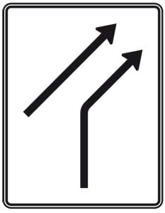 Verkehrszeichen 551-20 StVO, Zusammenführungstafel an einmündender Strecke (Folie/Entfernungsangabe/Maße(HxB): RA1/Flachform 3mm<br> <b>ohne Entfernungsangabe</b><br>1600x1250mm (Art.Nr.: 551-20-113))