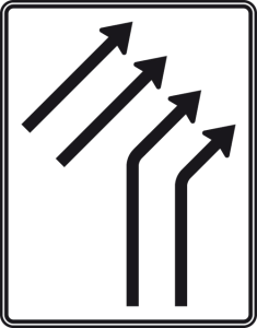 Verkehrszeichen 551-22 StVO, Zusammenführungstafel an einmündender Strecke (Folie/Entfernungsangabe/Maße(HxB): RA1/Flachform 2mm<br> <b>ohne Entfernungsangabe</b><br>1600x1250mm (Art.Nr.: 551-22-111))