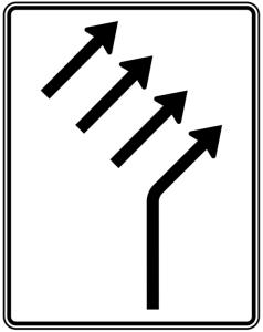 Verkehrszeichen 551-24 StVO, Zusammenführungstafel an einmündender Strecke (Folie/Entfernungsangabe/Maße(HxB): RA1/Flachform 2mm<br> <b>ohne Entfernungsangabe</b><br>1600x1250mm (Art.Nr.: 551-24-111))