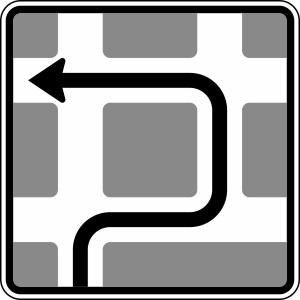 Verkehrszeichen 590-10 StVO, Blockumfahrung rechts, links, links (Maße/Folie/Form:  <b>600x600mm</b>/RA1/Flachform 2mm (Art.Nr.: 590-10-111))