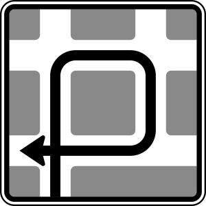 Verkehrszeichen 590-11 StVO, Blockumfahrung rechts, rechts, rechts (Maße/Folie/Form:  <b>600x600mm</b>/RA1/Flachform 2mm (Art.Nr.: 590-11-111))
