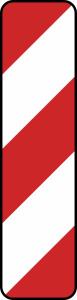 Verkehrszeichen 605-10 / 605-12 StVO, Leitbake, Aufstellung rechts, linksweisend (Maße/Folie/Form:  <b>1000x250 mm</b> / RA1 / Flachform 2 mm (Art.Nr.: 605-10-111))