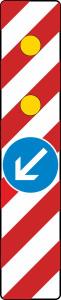 Verkehrszeichen 605-14 StVO, Warnlichtbake mit Zeichen 222-10, linksweisend, Vorbeifahrt links (Folie: Folie Typ 1 (RA1) (Art.Nr.: wbl021))
