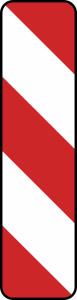 Verkehrszeichen 605-20 / 605-22 StVO, Leitbake, Aufstellung links, rechtsweisend (Maße/Folie/Form:  <b>1000x250 mm</b> / RA1 / Flachform 2 mm (Art.Nr.: 605-20-111))
