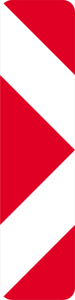 Verkehrszeichen 605-21 StVO, Pfeilbake (Aufstellung links) (Maße/Folie/Form:  <b>1000x250mm</b>/RA1/Flachform 2mm (Art.Nr.: 605-21-11))