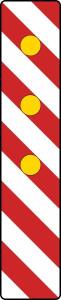 Verkehrszeichen 605-23 StVO, Warnlichtbake, rechtsweisend (Aufstellung links) (Folie: Folie Typ 1 (RA1) (Art.Nr.: wbr011))