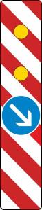Verkehrszeichen 605-24 StVO, Warnlichtbake mit Zeichen 222, rechtsweisend, Vorbeifahrt rechts (Folie: Folie Typ 1 (RA1) (Art.Nr.: wbr021))