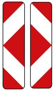 Verkehrszeichen 605-42 StVO, Pfeilbake, doppelseitig, links / rechtsweisend (Folie/Form: RA1/ <b>Flachform 2mm</b> (Art.Nr.: 605-42-111))
