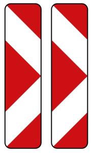 Verkehrszeichen 605-43 StVO, Pfeilbake, doppelseitig, rechts / rechtsweisend (Folie/Form: RA1/ <b>Flachform 2mm</b> (Art.Nr.: 605-43-111))