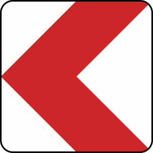 Verkehrszeichen 625-10 / 625-11 / 625-12 / 625-13 StVO, Richtungstafel in Kurven, linksweisend (Länge/Folie/Form:  <b>500 mm</b> / RA1 / Flachform 2 mm (Art.Nr.: 625-10-111))