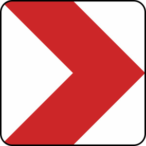 Verkehrszeichen 625-20 / 625-21 / 625-22 / 625-23 StVO, Richtungstafel in Kurven, rechtsweisend (Länge/Folie/Form:  <b>500 mm</b> / RA1 / Flachform 2 mm (Art.Nr.: 625-20-111))