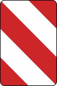 Verkehrszeichen 626-20 StVO, Leitplatte, Aufstellung links (Folie/Form: RA1/Flachform 2mm (Art.Nr.: 626-20-111))