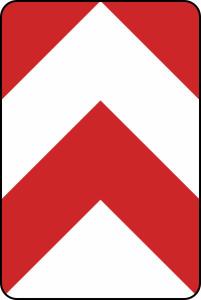 Verkehrszeichen 626-30 /626-31 /626-32 StVO, Leitplatte, beidseitig vorbei (Maße/Folie/Form:  <b>750x500 mm</b> / RA1 / Flachform 2 mm (Art.Nr.: 626-30-111))