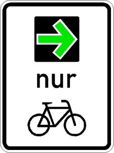 Verkehrszeichen 721 StVO, Grünpfeilschild mit Beschränkung auf den Radverkehr (Ausführung: Verkehrszeichen 721 StVO, Grünpfeilschild mit Beschränkung auf den Radverkehr (Art.Nr.: 721))