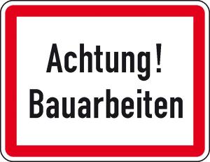 Verkehrszeichen StVO, Achtung! Bauarbeiten (Ausführung: Verkehrszeichen StVO, Achtung! Bauarbeiten (Art.Nr.: 53.5898))